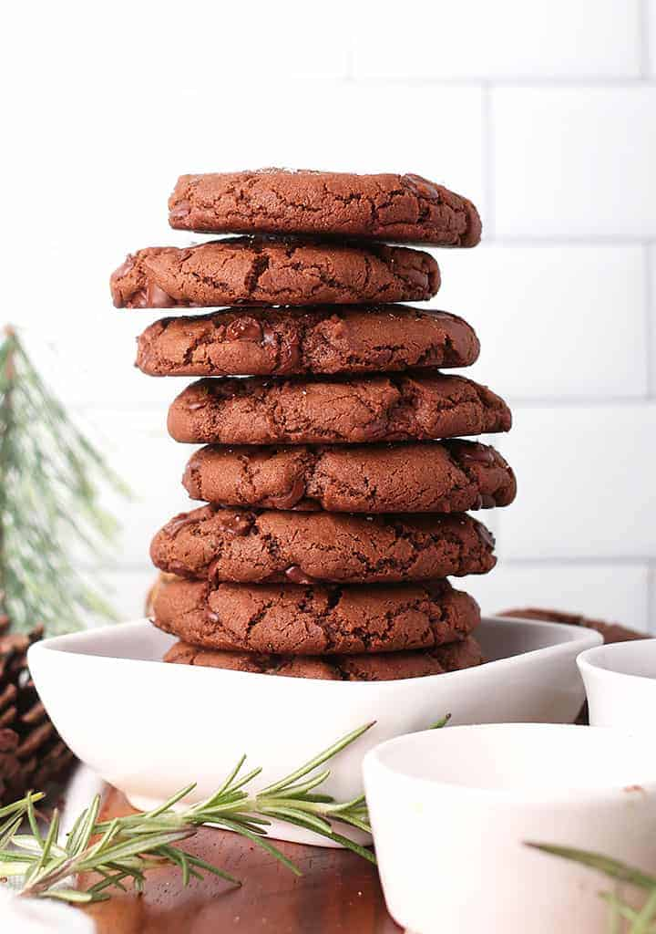 Stack of salted chocolate cookies