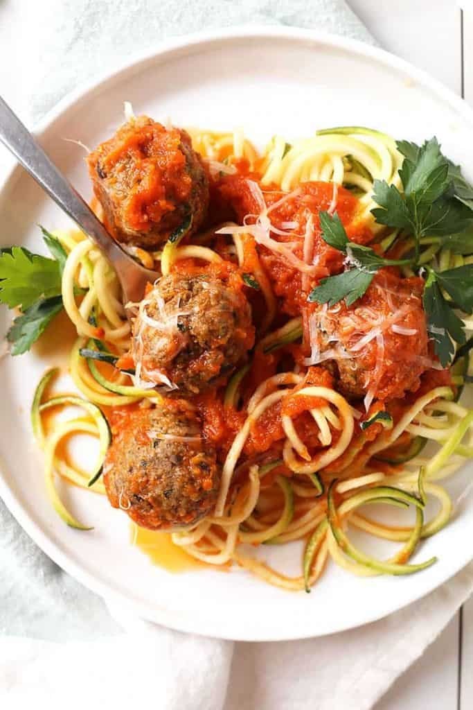 Eggplant meatballs on a fork