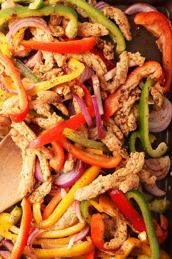 Peppers and onions with soy curls on sheet pan