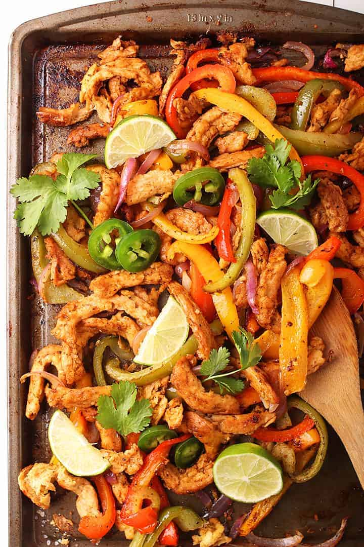 Sheet pan vegan fajitas with jalapeños and lime
