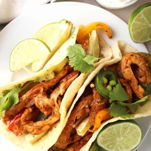 Vegan Chicken Fajitas on white plate