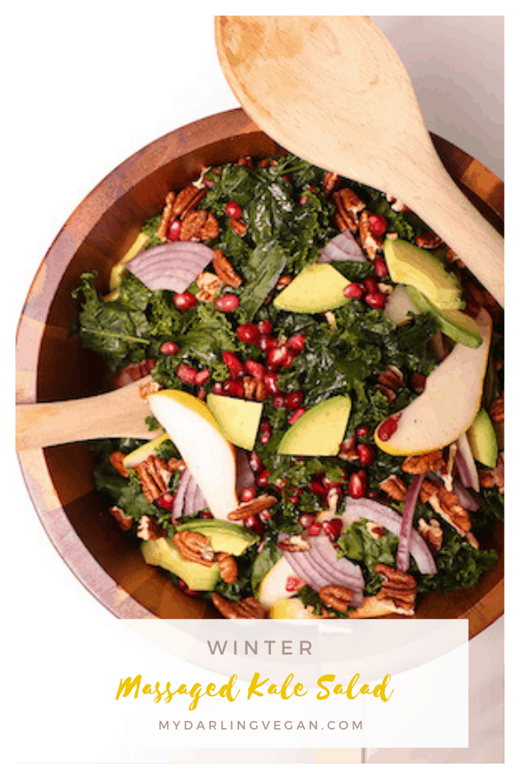 You're going to love this delicious massaged kale salad. Topped with pecans, pears, and pomegranates and tossed with orange poppy seed dressing, it's a delicious and festive winter salad.