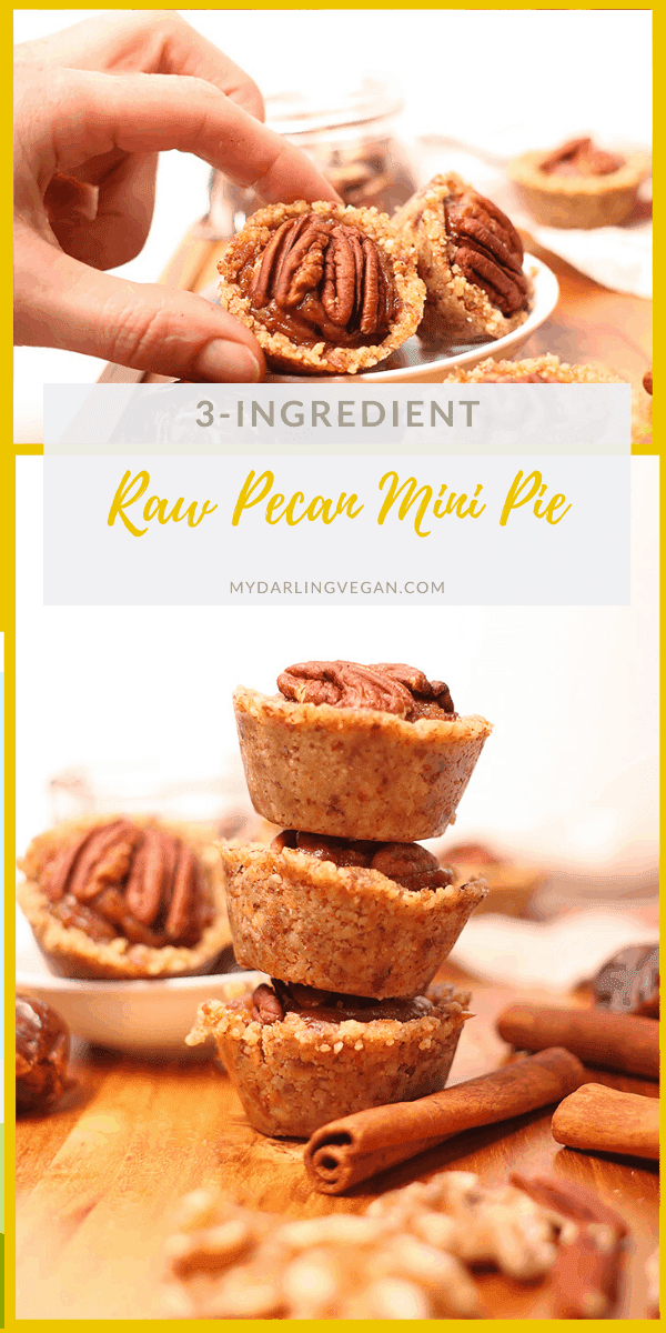 Raw Pecan Pie Tartlets made with just three ingredients! That's right, this decadent dessert is made from walnuts, dates, and pecans alone for a vegan, gluten-free, refined sugar-free, and wholesome holiday dessert.