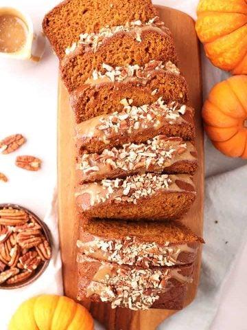 Sliced vegan pumpkin bread