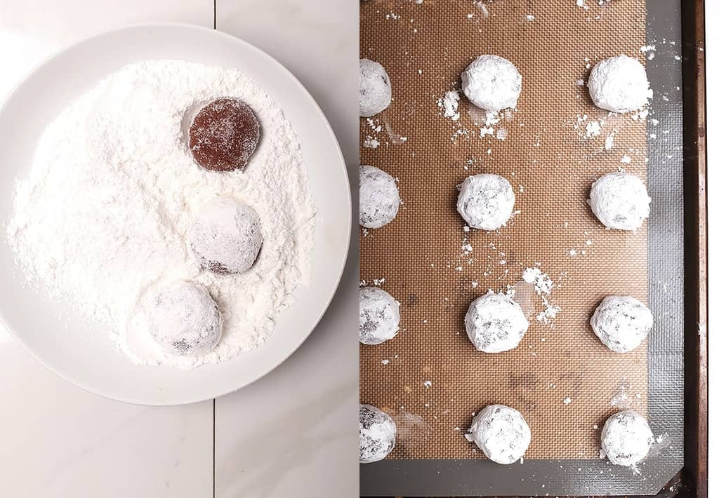 Crinkle cookies on baking sheet
