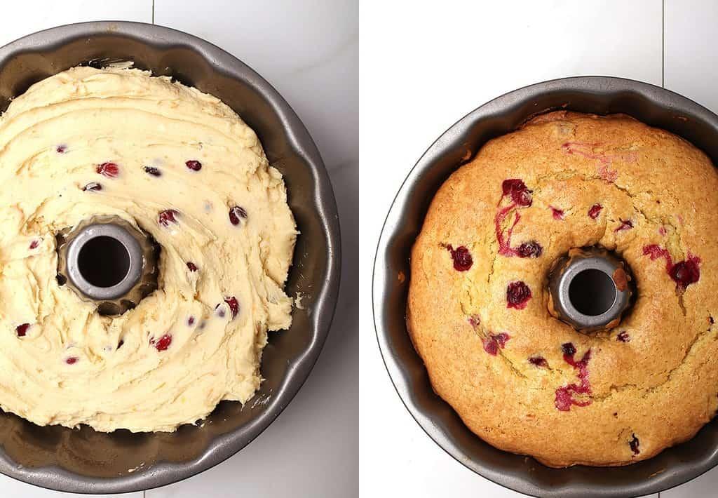 Vegan pound cake batter in bundt pan