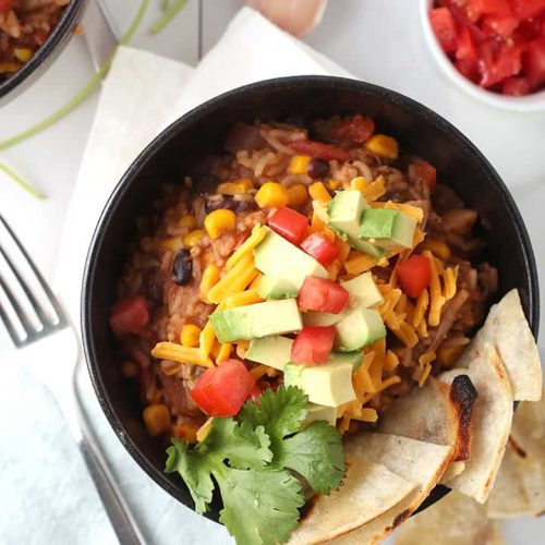 Vegan Burrito Bowl with Avocados and Tomatoes