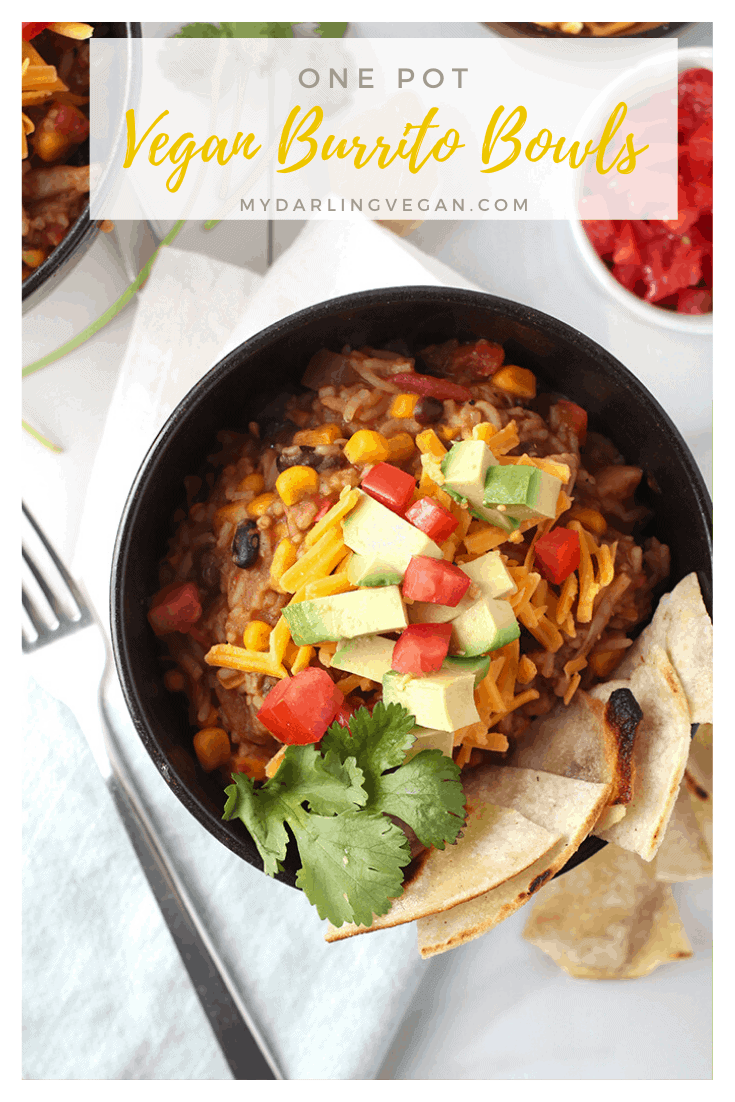 Make your meal planning easy with this AMAZING vegan and gluten-free, one-pot, burrito bowl recipe. Filled with seasoned jackfruit, black beans, corn, and rice for a hearty and healthy meal the whole family will love. Made in under 30 minutes!