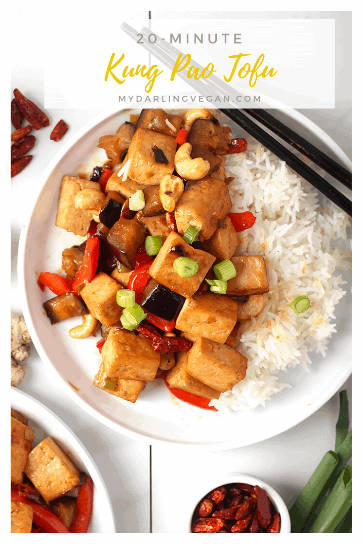 You're going to love this Kung Pao Tofu. Tofu marinated in a sweet, spicy, and salty sauce and sautéed with bell peppers, red chilis, and eggplant for an easy vegan and gluten-free meal. Made in under 30 minutes!