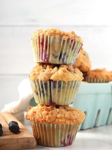 Stack of mixed berry muffins