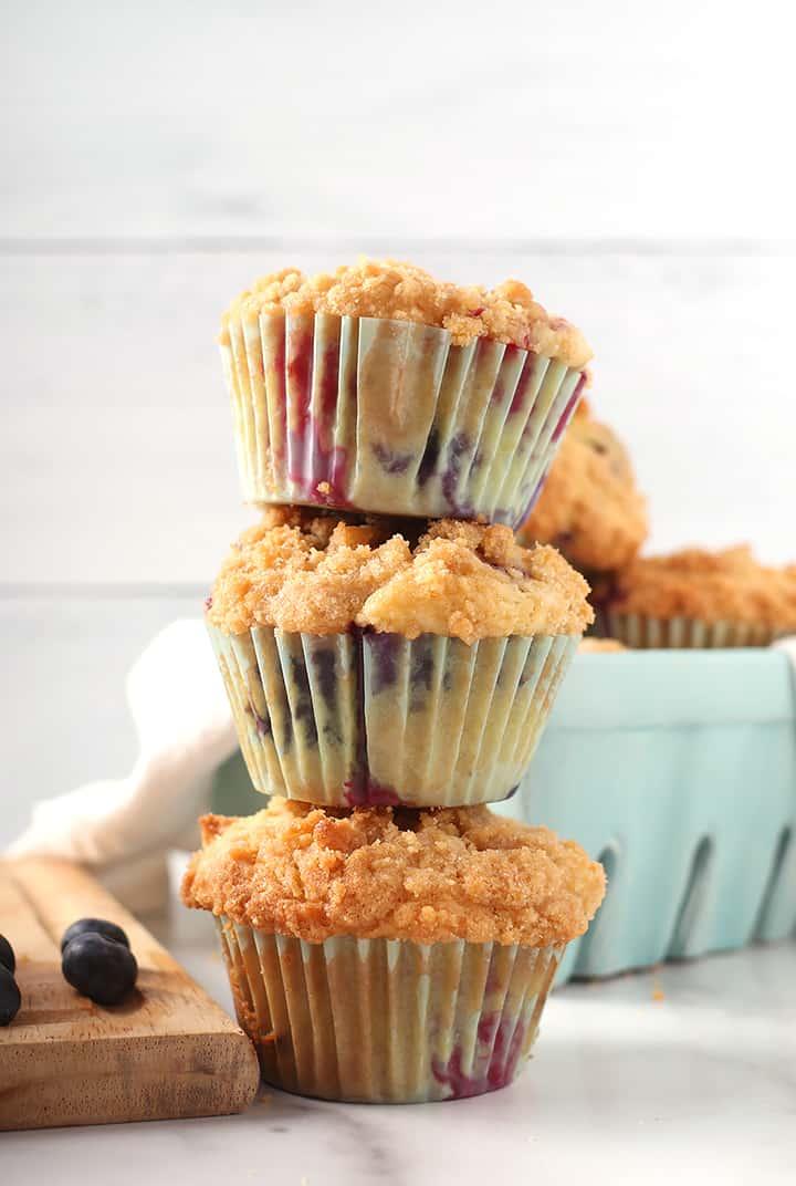 Stack of three vegan muffins