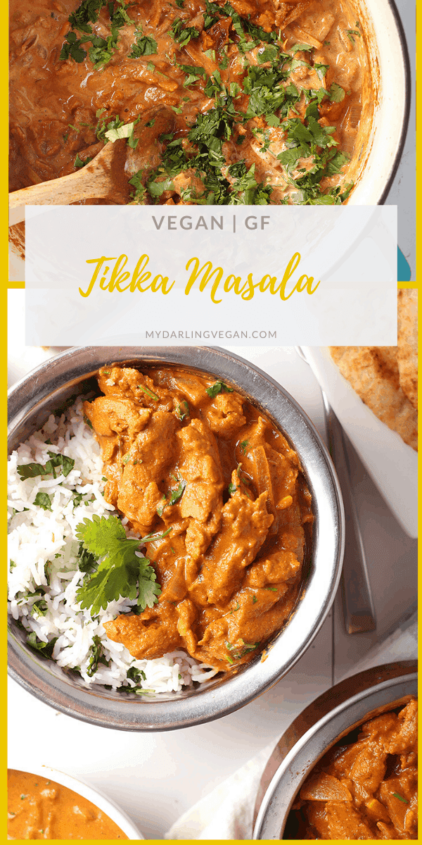 Amazing Vegan Tikka Masala! It's an Indian-spiced masala sauce stewed with marinated soy curls and served over cilantro rice for a delicious vegan and gluten-free meal. Serve it with homemade naan and salad.