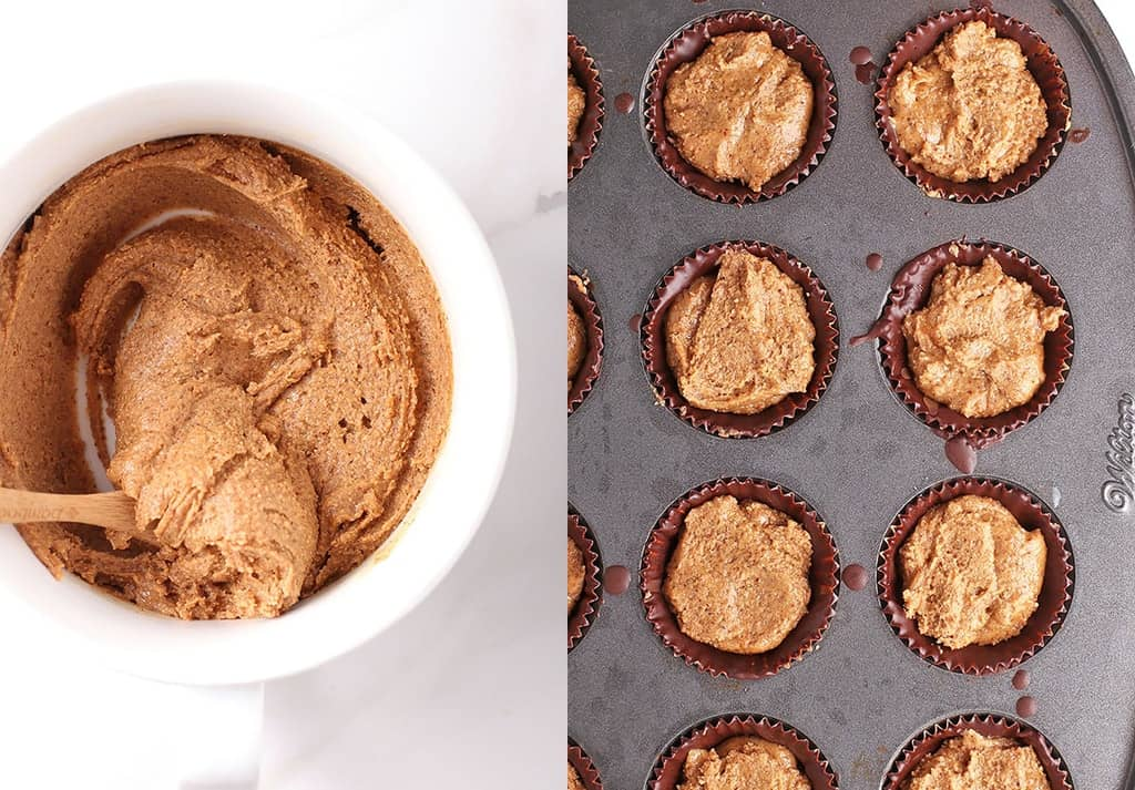 Chocolate cups in a mini muffin tin with almond butter filling