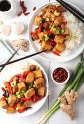 Kung Pao Tofu on two white plates