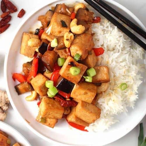 Kung Pao Tofu on white plate