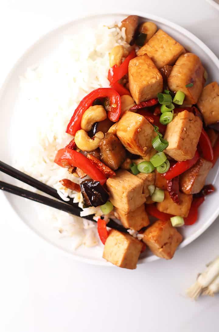 Kung Pao Tofu with chopsticks