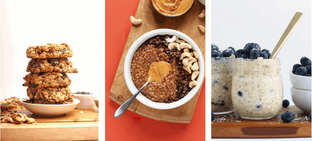 Cookies and oats in a collage