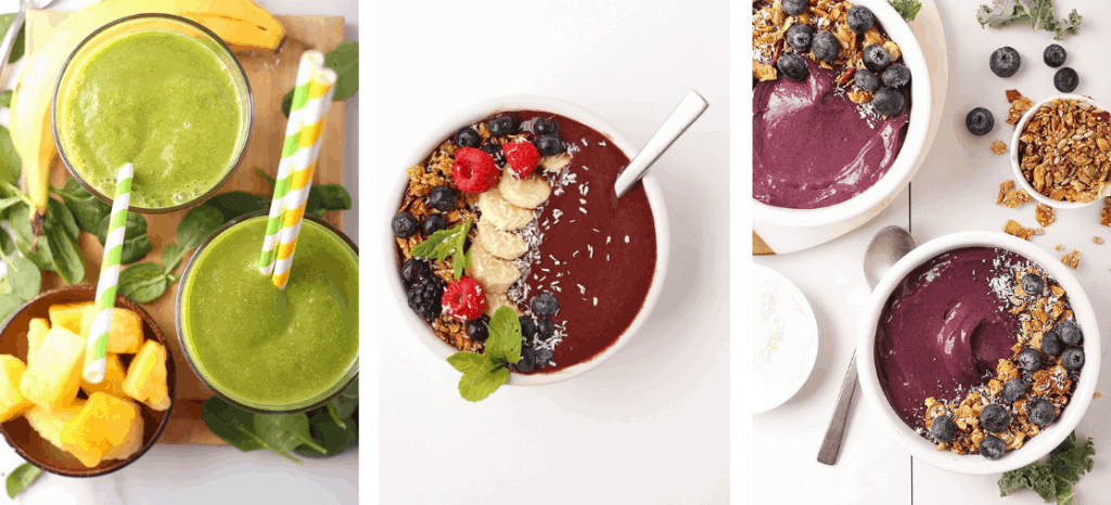 A variety of smoothie bowls