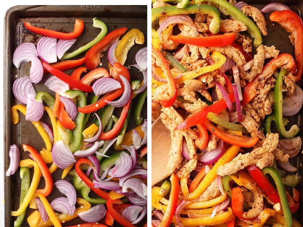 Sliced onions and bell peppers on a baking sheet