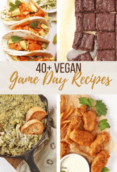 A collage of vegan super bowl recipes