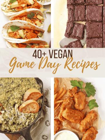 A collage of vegan super bowl recipes