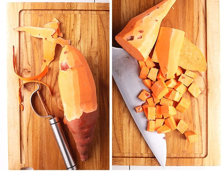 Peeled and cubed sweet potato