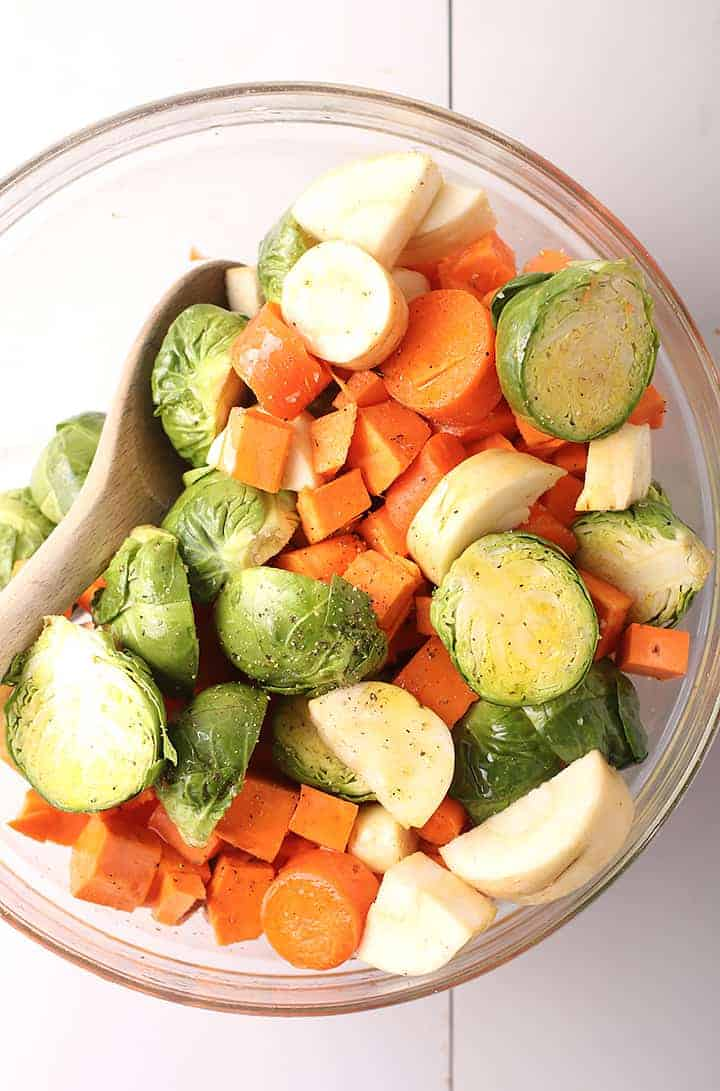 Sliced vegetables in a white bowl