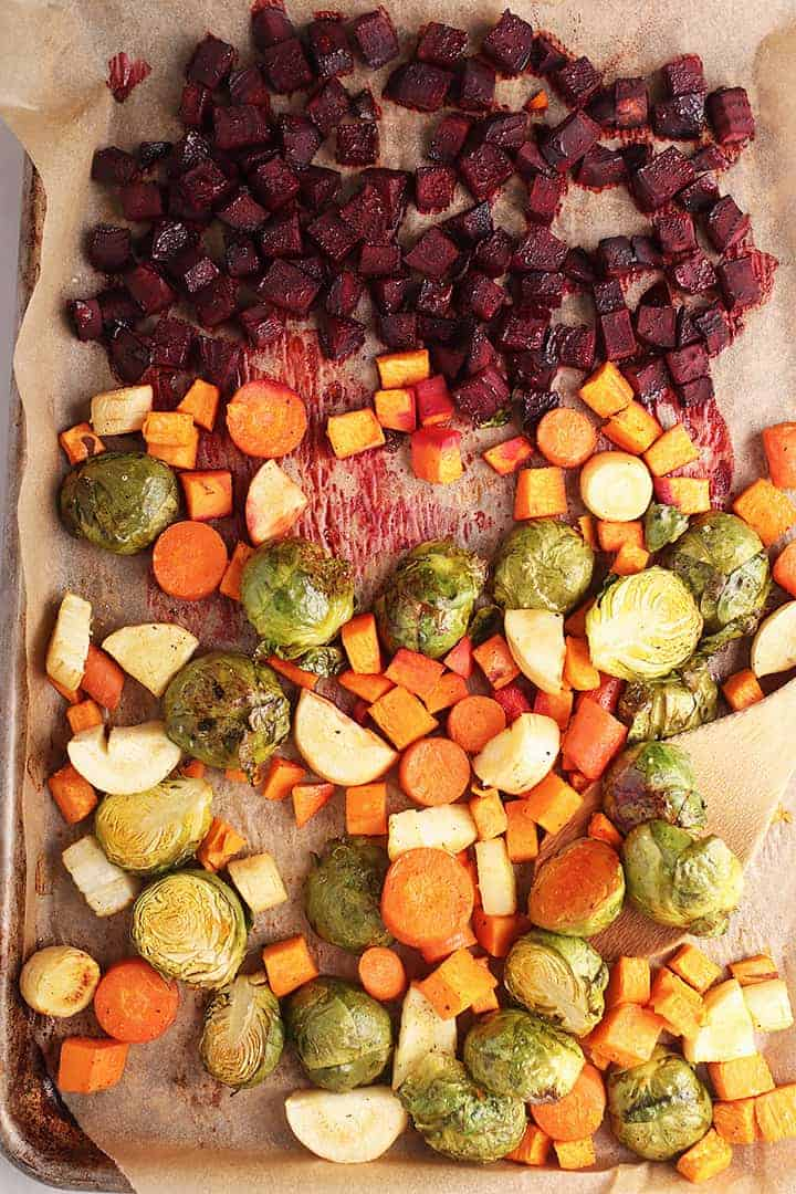 Roasted carrots, parsnips, sweet potatoes, and beets