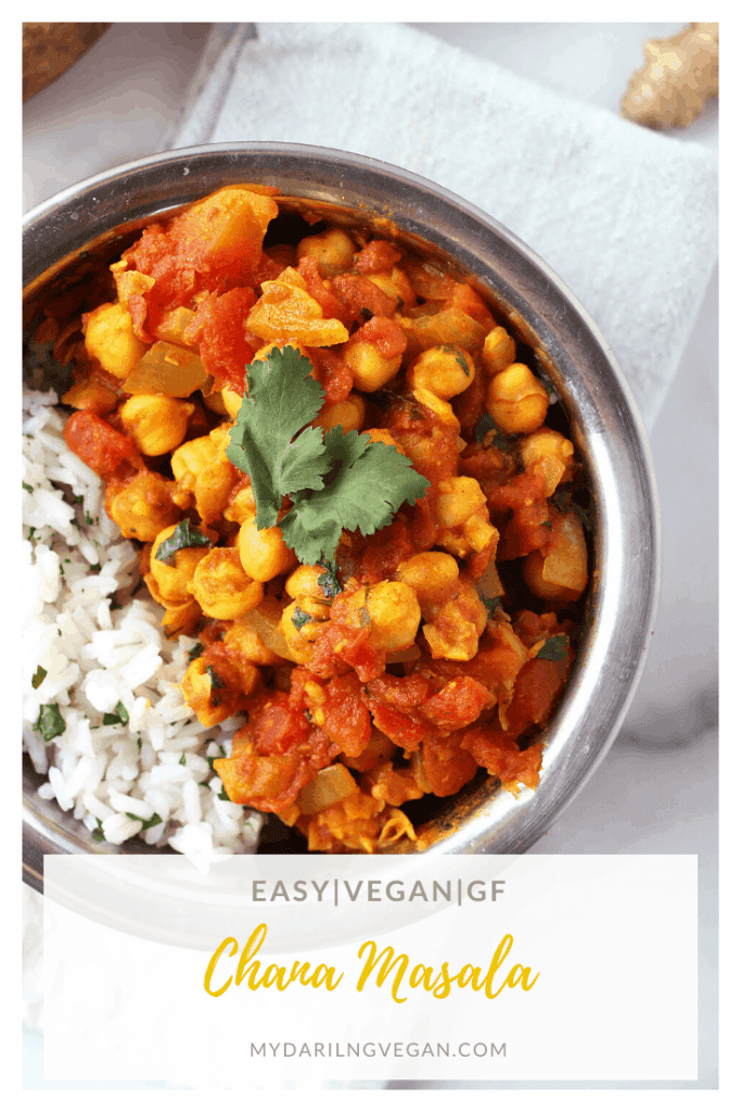 Enjoy this DELICIOUS and Easy Indian Chana Masala tonight! Made in just one pot in under 30 minutes, everyone will love this vegan and gluten-free dinner. Serve with rice or vegan naan.