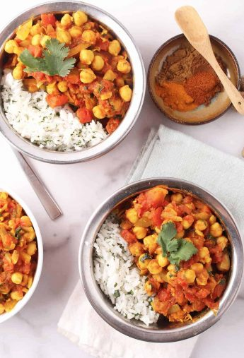 Two bowls of vegan Chana Masala