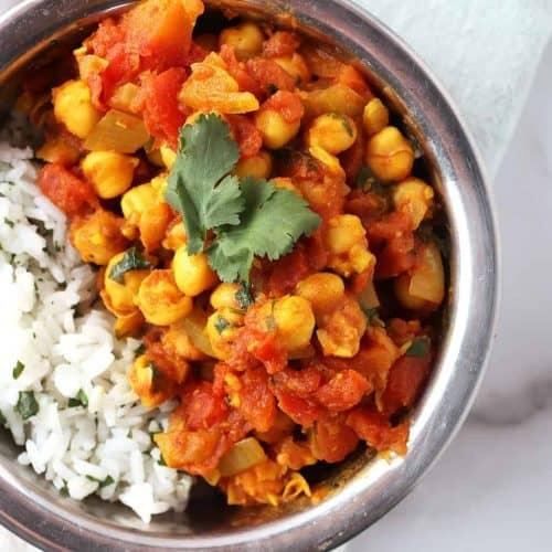 Vegan Chana Masala in copper bowl