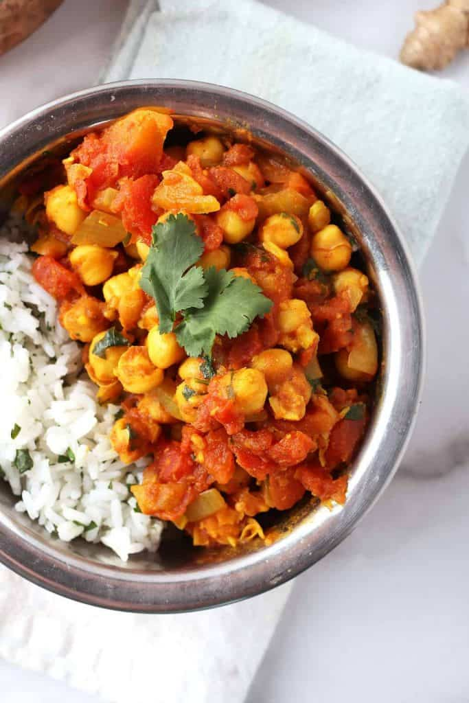 Vegan Chana Masala in copper bowl