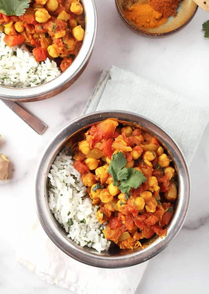 Two bowls of Chana Masala