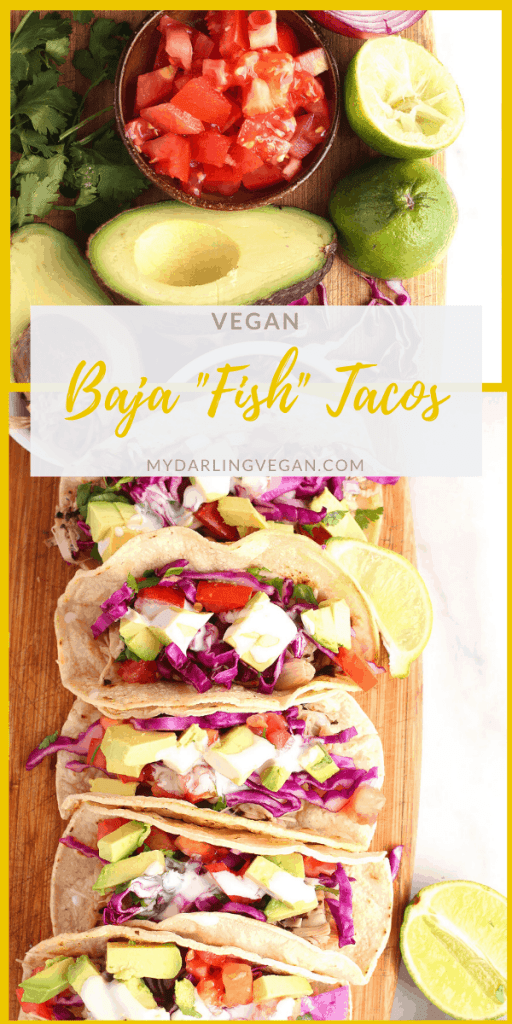 Lighten up with these incredible vegan fish tacos. Made with fish-flavored jackfruit, cilantro cabbage slaw, fresh avocado, and creamy white sauce these tacos are something to get excited about! Made in just 20 minutes for an easy and delicious vegan meal.