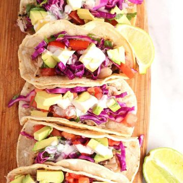 Vegan Fish Tacos on cutting board