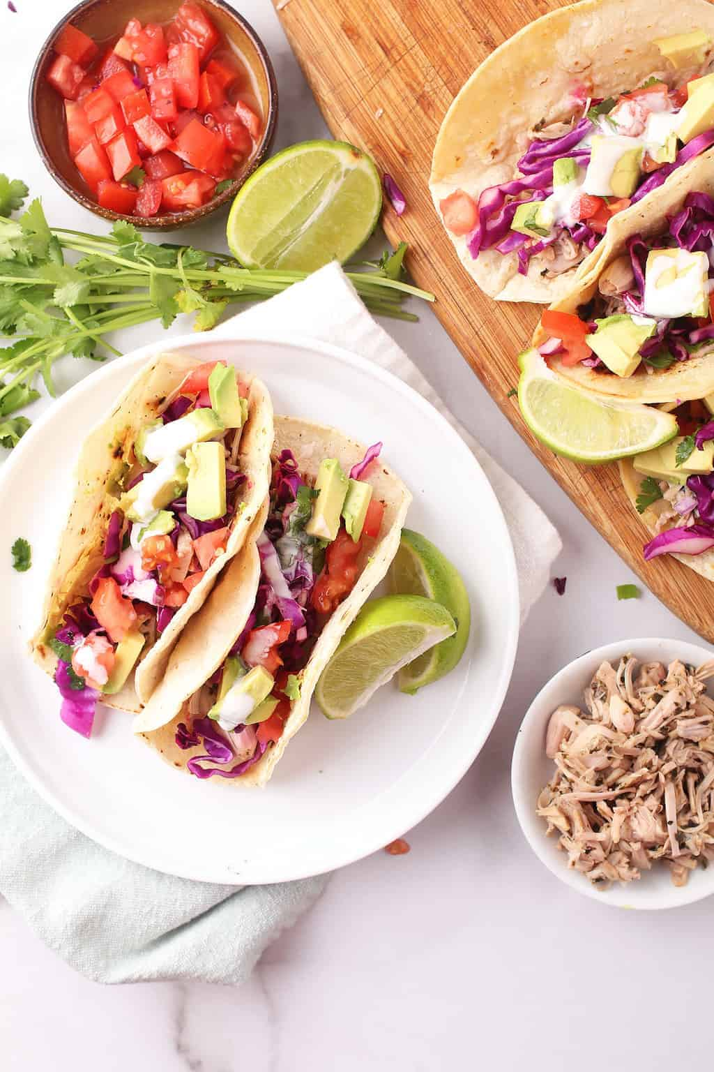 Vegan Fish Tacos on two white plates
