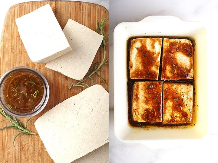 Thick slices of tofu marinated in casserole dish