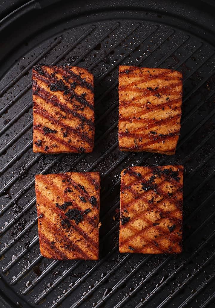 Tofu Steaks on grill
