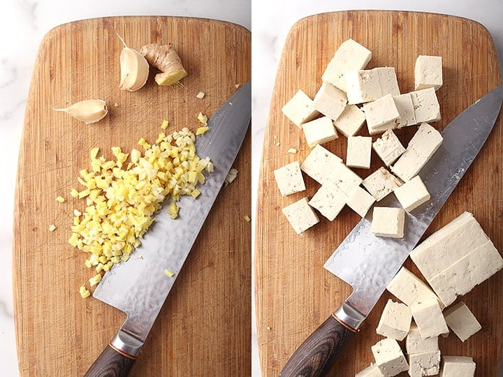 Minced garlic and ginger and cubed tofu