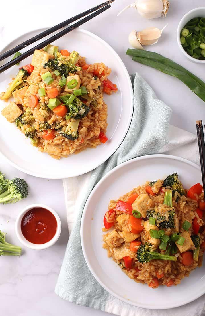 Teriyaki Tofu and Rice on two plates