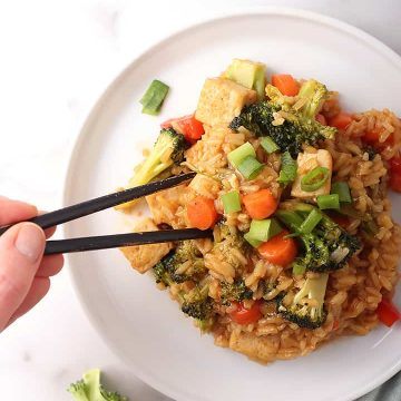 Teriyaki Tofu and Rice with chopsticks