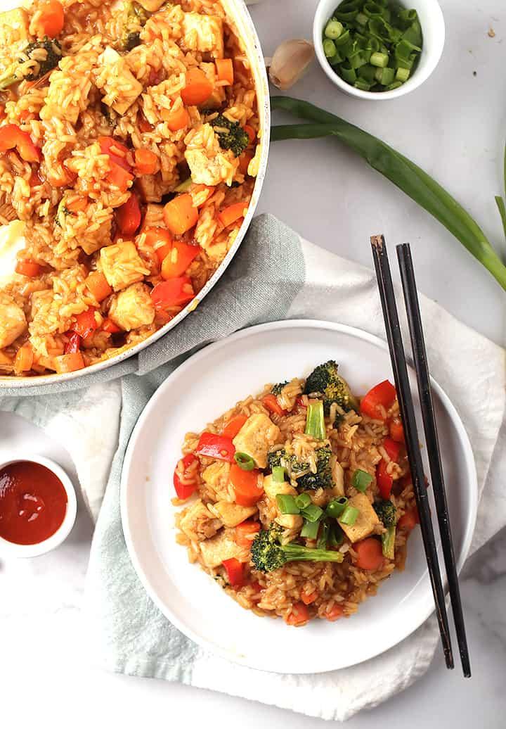 Teriyaki Tofu and Rice on white plate
