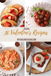 Collage of 4 different Valentine's Day recipes
