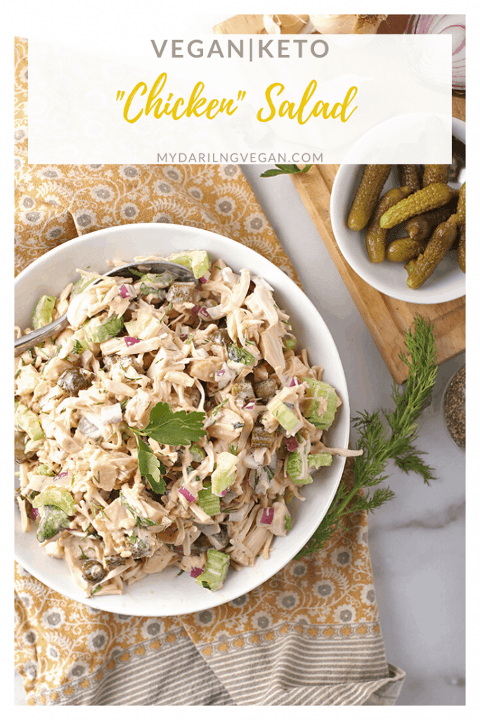 A Vegan Chicken Salad everyone will love. This traditional salad is made with green jackfruit and mixed with celery, onions, and pickles for a healthy twist on a classic salad. Soy and gluten-free!