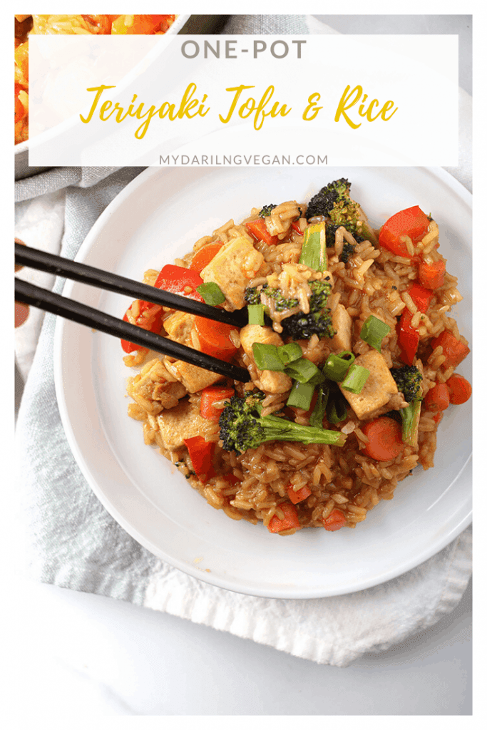 Make your weeknight dinner easy with this One-Pot Teriyaki Tofu and Rice. It's a delicious blend of tofu, vegetables, and homemade Teriyaki sauce with minimal fuss and mess. Vegan & Gluten-Free!