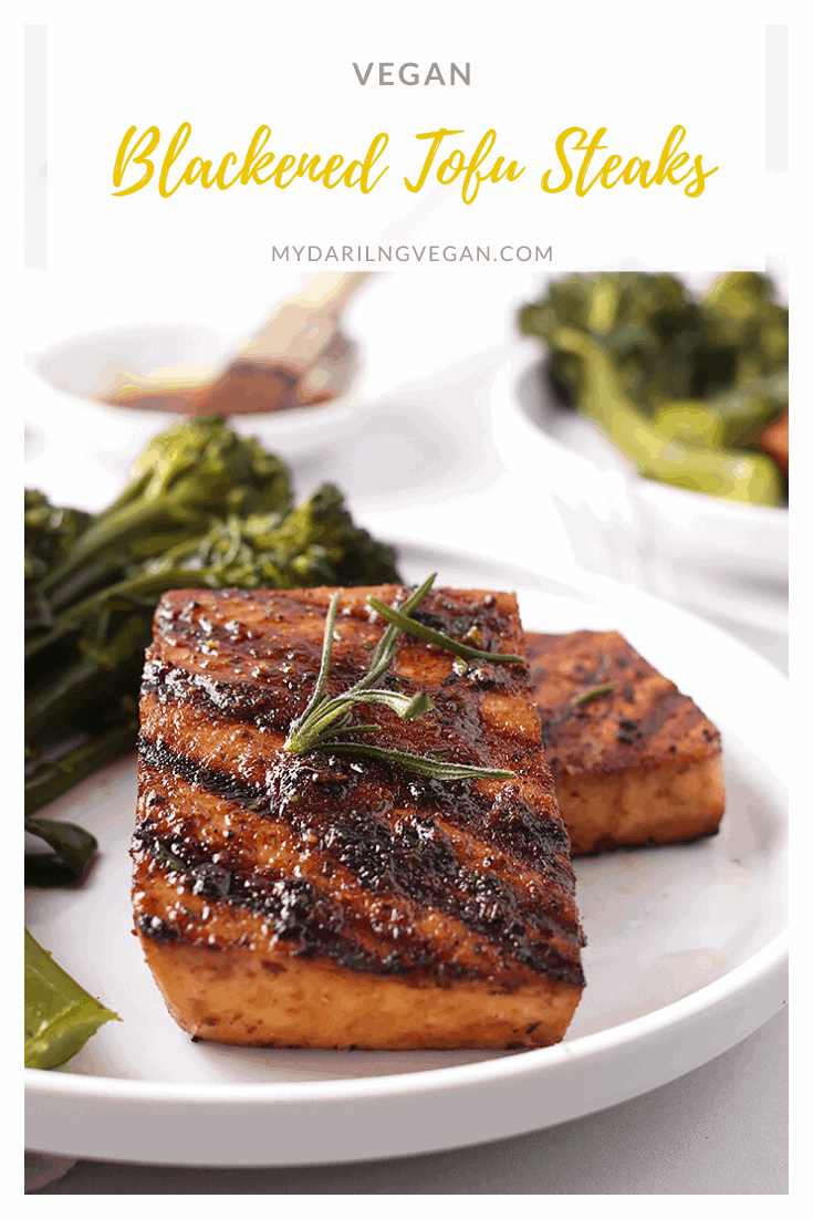 Impress your guests with these Juicy Blackened Tofu Steaks. Made with extra-firm tofu marinated in a mixture of sauces and spices and then grilled to perfection for a wholesome vegan and gluten-free meal.