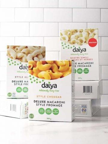Boxes of Daiya's Deluxe Cheesy Mac