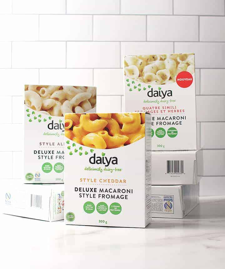 Boxes of Daiya's Deluxe Cheesy Mac