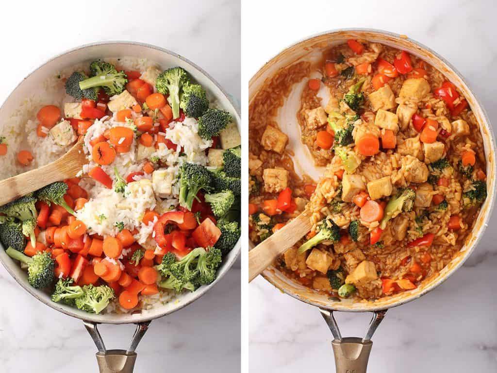 Teriyaki Tofu and Rice with vegetables