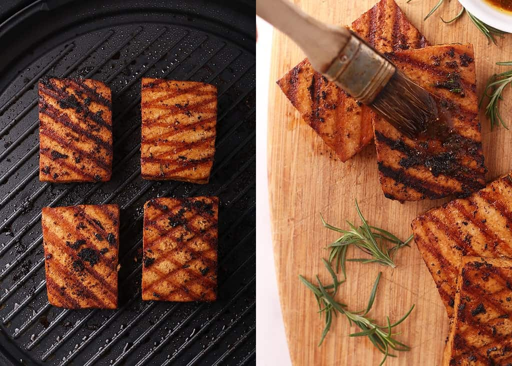 Grilled tofu on an electric grill